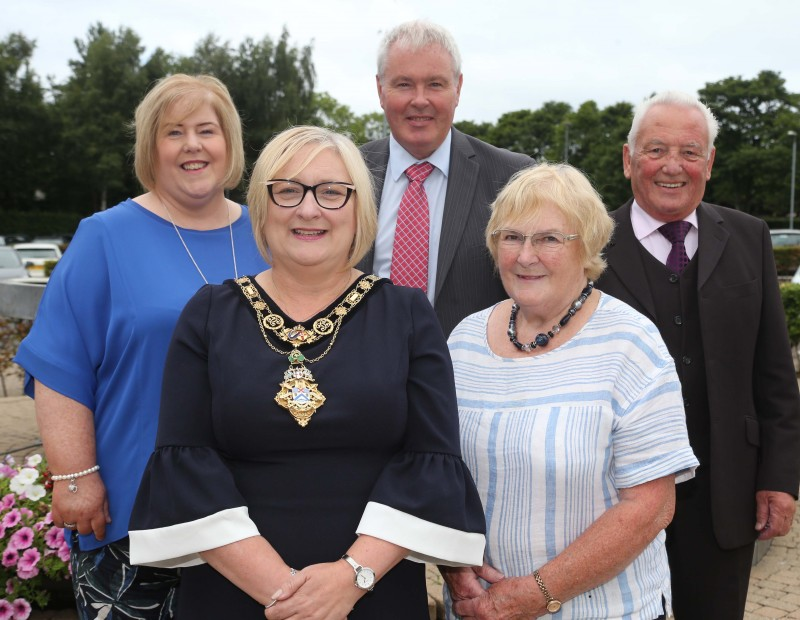 John McNicholl (chairperson) and Mary McNicholl (secretary) of Glenshane Community Development Group pictured with the Mayor of Causeway Coast and Glens Borough Council Councillor Brenda Chivers with Elaine Downey and Harry Armstrong from Department for Communities who part fund the advice service provision.