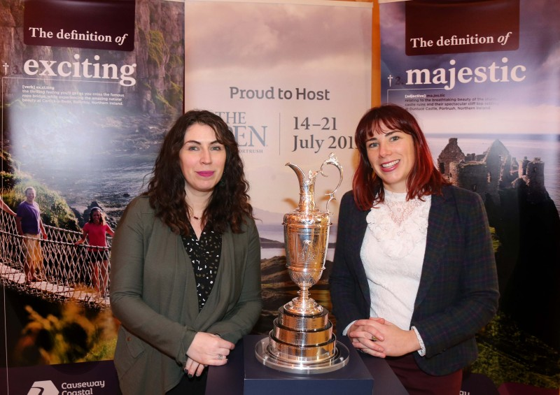Lesley Ann O'Donnell from Tourism NI and Heidi Clarke from Causeway Coast and Glens Borough Council pictured with the Claret Jug at the Business Engagement event held in Portrush Town Hall ahead of The 148th Open.