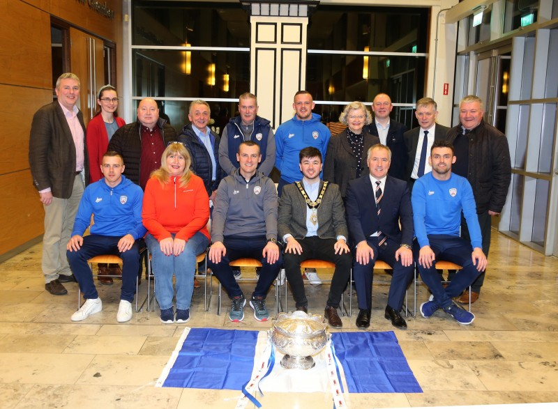 Elected members from Causeway Coast and Glens Borough Council including the Mayor, Councillor Sean Bateson, pictured with representatives from Coleraine FC at a recent reception to mark the club's League Cup victory.