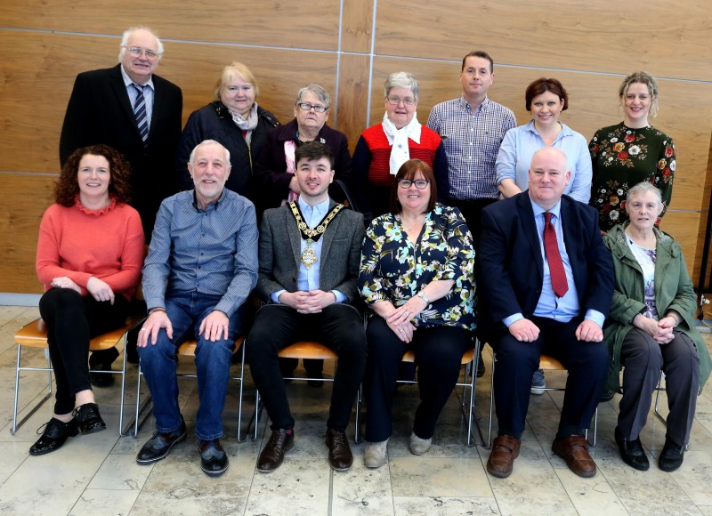 Members of Stranocum, Rasharkin and Ballybogey Community Centres including Fiona McDowell, Jimmy Culbertson, Marcus Porter, Annette Wiggins, Alma Murphy and Sean Hanna pictured with the Mayor of Causeway Coast and Glens Borough Council Councillor Sean Bateson and Council Officers at a recent reception in Cloonavin.