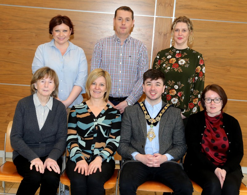 Pictured at a recent reception for community centre volunteers are, front row l-r, Annie Mary Mullan, Alice Con and Leona Ferris from Magilligan Community Centre, the Mayor of Causeway Coast and Glens Borough Council Councillor Sean Bateson, back row l-r, Adele McCloskey, Community Development, Michael O'Brien, Sport and Wellbeing and Catherine Farrimond, Community Development.