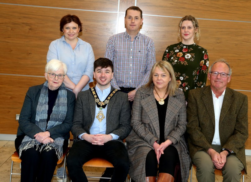 Pictured at a recent reception for community centre volunteers are, front row l-r Anne Clyde MBE, the Mayor of Causeway Coast and Glens Borough Council Councillor Sean Bateson, Claire Millar and Bill Weir from Garvagh Development Trust, back row l-r, Adele McCloskey, Community Development, Michael O'Brien, Sport and Wellbeing and Catherine Farrimond, Community Development.