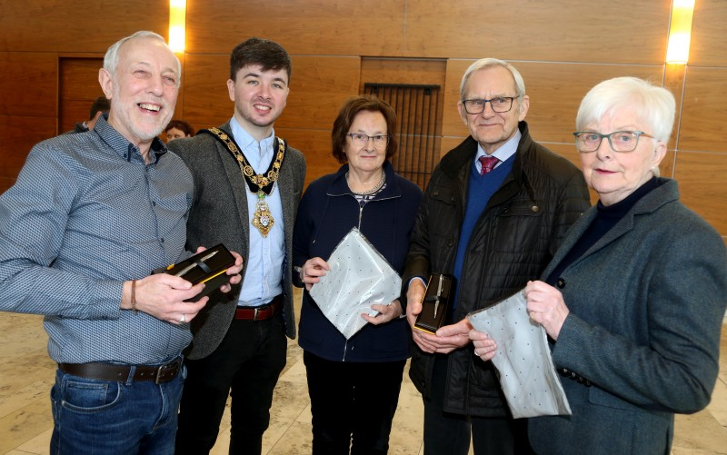 Pictured with the Mayor of Causeway Coast and Glens Borough Council Councillor Sean Bateson at a recent reception for community centre volunteers are Jimmy Culbertson, Lyle and Daphne Quigley, and Anne Clyde MBE.