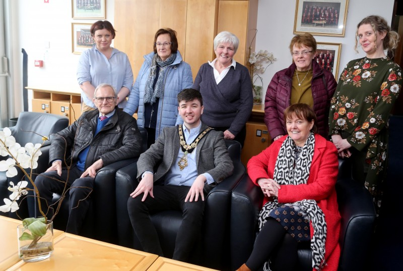 Pictured at a recent reception for community centre volunteers are, front row l-r Lyle Quigley, the Mayor of Causeway Coast and Glens Borough Council Councillor Sean Bateson, Eithne Burke, (Gortnaghey Community Association), back row l-r, Adele McCloskey, Daphne Quigley, Vie Whiteside, Carmel Hogan and Catherine Farrimond.
