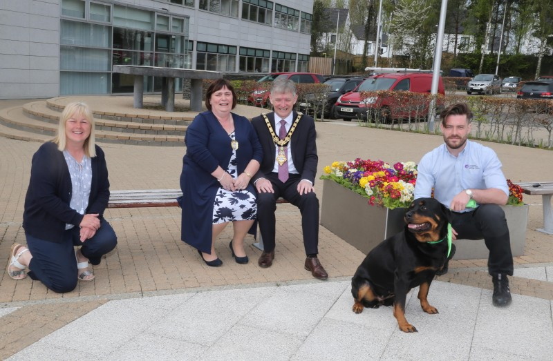 The Mayor of Causeway Coast and Glens Borough Council Alderman Mark Fielding has helped to launch the Green Dog Walker Scheme alongside the Mayoress Mrs Phyllis Fielding, Councillor Margaret Anne McKillop and Ben Callan, Enforcement Officer (with dog Mayze)