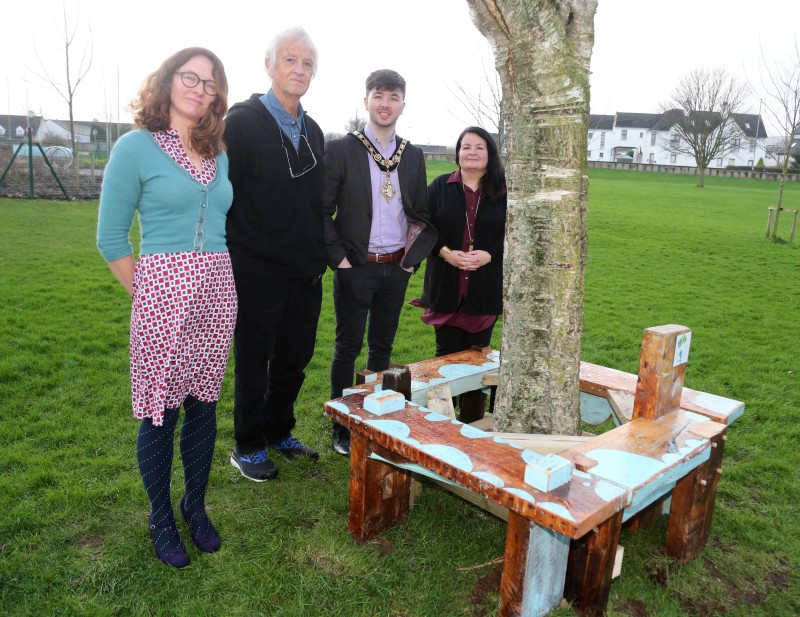 Pictured at the launch of The Dreamer's Space exhibition and outdoor trail at Flowerfield Arts Centre are artist-in-resident Corrina Askin, Chris Springhall, the Mayor of Causeway Coast and Glens Borough Council Sean Bateson and Cultural Services Development Manager Desima Connolly.