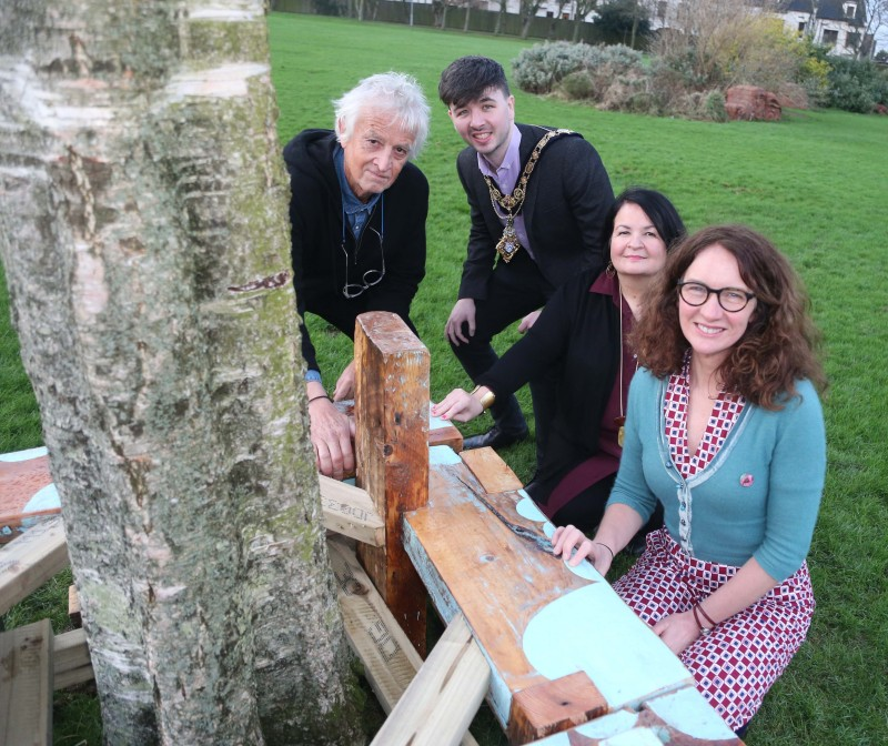 Pictured at the launch of The Dreamer's Space exhibition and outdoor trail at Flowerfield Arts Centre are Chris Springhall, the Mayor of Causeway Coast and Glens Borough Council Sean Bateson, Cultural Services Development Manager Desima Connolly and artist-in-resident Corrina Askin.