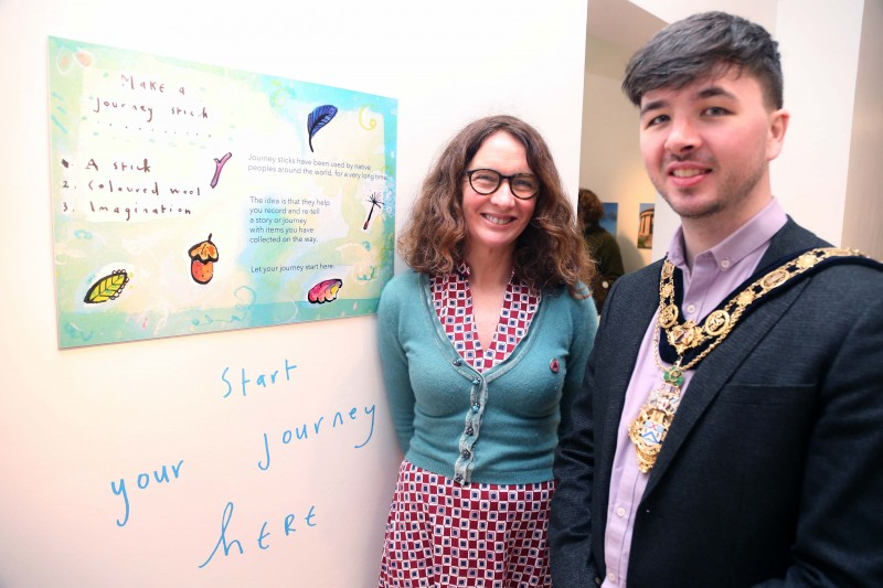 Flowerfield Arts Centre's Springhall Artist in Residence Corrina Askin pictured with the Mayor of Causeway Coast and Glens Borough Council Councillor Sean Bateson at the launch of the Dreamer's Space exhibition and outdoor trail.