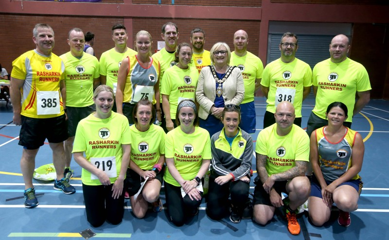 The Mayor of Causeway Coast and Glens Borough Council, Councillor Brenda Chivers pictured with members of the Rasharkin Runners ahead of the Edwin May Five Mile Classic race organised by Causeway Coast and Glens Borough Council.