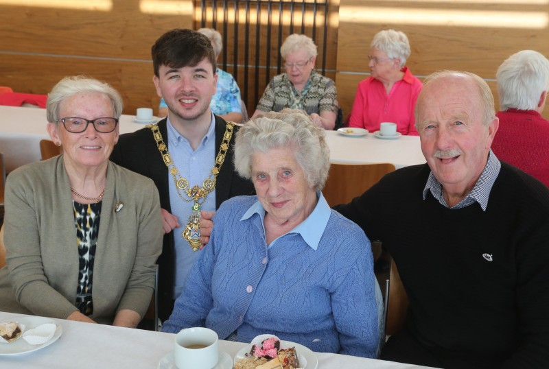 The Mayor of Causeway Coast and Glens Borough Council Councillor Sean Bateson pictured with Georgina Wilkinson, Susan Warke and John Wilkinson at a special reception for members of Ballymoney Evergreen Club.