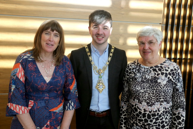 The Mayor of Causeway Coast and Glens Borough Council Councillor Sean Bateson pictured with Marie Louise McCleary and Isobel Dunlop at a civic reception for Ballymoney Evergreen Club members.