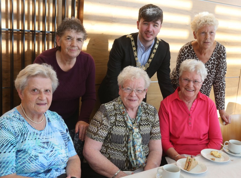 The Mayor of Causeway Coast and Glens Borough Council Councillor Sean Bateson pictured with members of Ballymoney Evergreen Club.