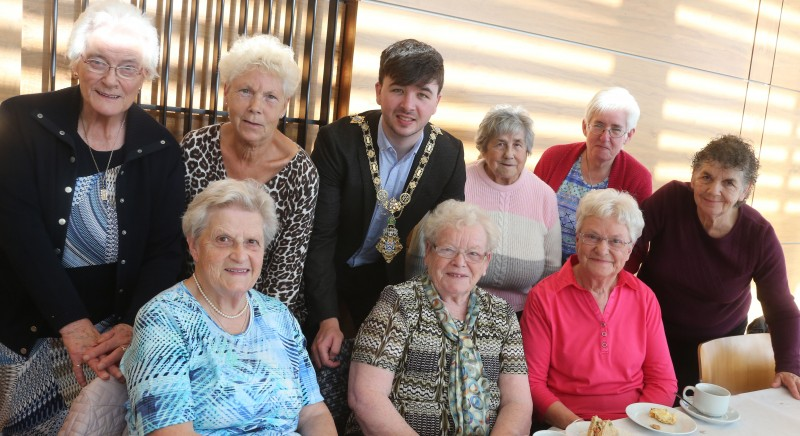 The Mayor of Causeway Coast and Glens Borough Council Councillor Sean Bateson pictured with members of Ballymoney Evergreen Club. who attended a civic reception for in Cloonavin recently