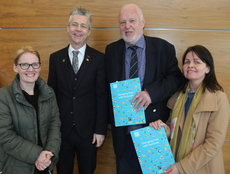 Pictured at the Fairtrade Bake-Off celebration event, l-r, are Mabel McAleese (Loreto College), Consul General Dr Christopher Stange, Secretariat of the All Party Group on Fairtrade, Chris McCaughan, Fairtrade Steering Group member and Sinead McNicholl (Loreto College).
