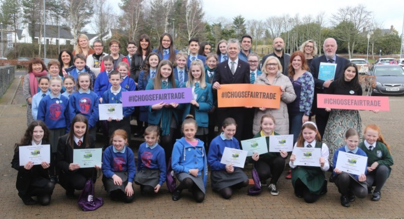 Young bakers from across the Causeway Coast and Glens Borough Council area who participated in the Fairtrade Bake-Off pictured with their teachers and Fairtrade supporters. The overall winners are pictured in the front row, Poppy Miller from Limavady High School, (second from left), and Yasmin Lanout from Ballykelly Primary School (fourth from right).