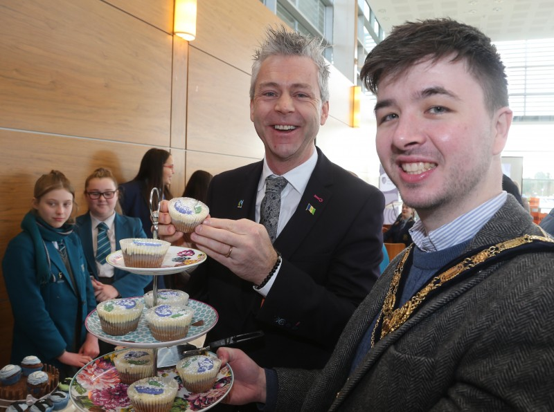 The Mayor of Causeway Coast and Glens Borough Council Councillor Sean Bateson pictured at the Fairtrade Bake-Off celebration event with Consul General Dr Christopher Stange, Secretariat of the All Party Group on Fairtrade.