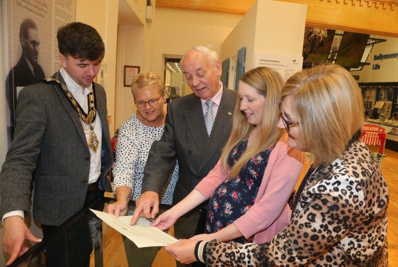 The Mayor of Causeway Coast and Glens Borough Council Councillor Sean Bateson pictured with Valerie Stewart, Mac Pollock from Ballymoney Drama Festival, Jamie Austin, Museum Officer, Causeway Coast and Glens Borough Council and Elaine Lee at the George Shiels exhibition currently on display at Ballymoney Museum.