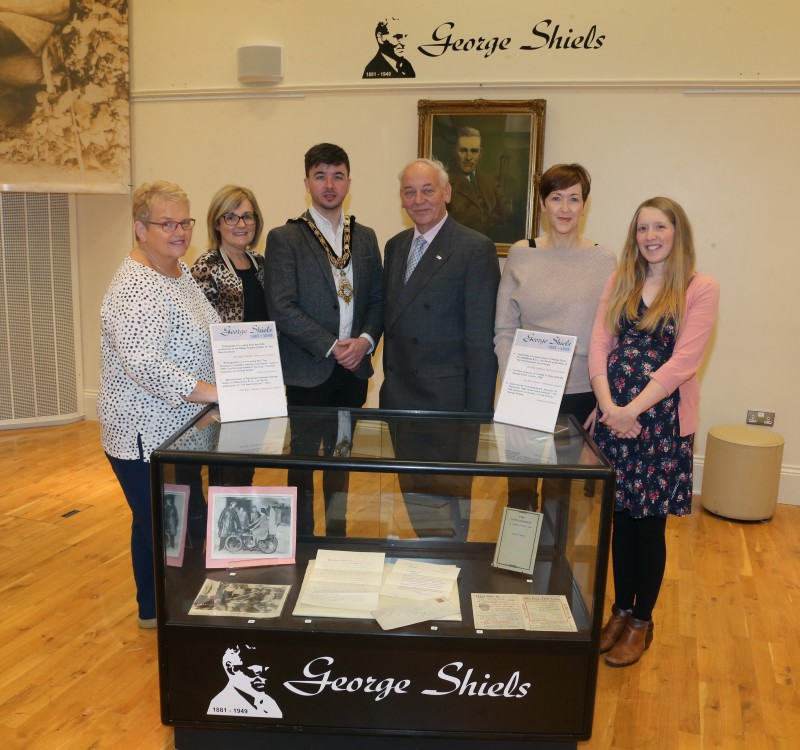 The Mayor of Causeway Coast and Glens Borough Council Councillor Sean Bateson pictured at a new exhibition in Ballymoney Museum celebrating the life of George Shiels with Valerie Stewart, Elaine Lee, Mac Pollock from Ballymoney Drama Festival, Yvonne Simpson and Jamie Austin, Museum Officer, Causeway Coast and Glens Borough Council at the opening of the George Shiels exhibition in Ballymoney Museum.