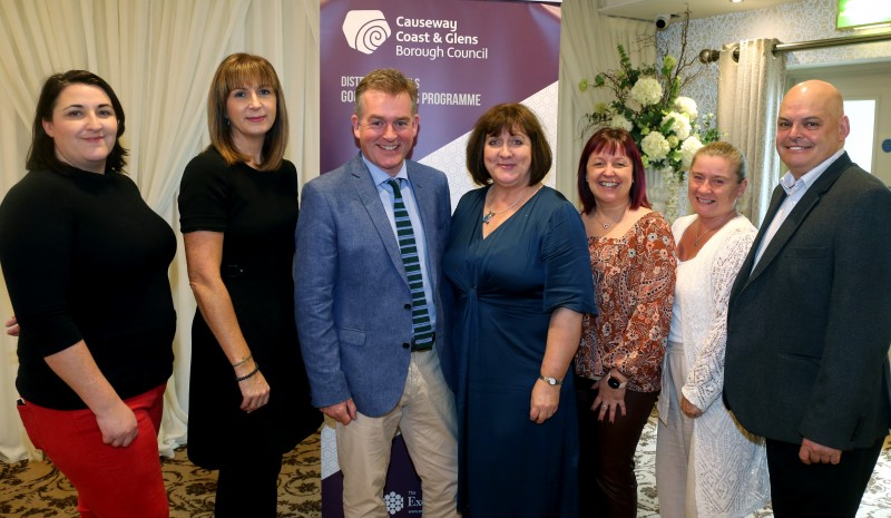 Pictured at the 'Let's Talk' event are Bebhinn McKinley, Good Relations Officer, Causeway Coast and Glens Borough Council, Patricia Harkin, Good Relations Manager, Causeway Coast and Glens Borough Council, Mark Carruthers, BBC, Joy Wisener, Good Relations Officer, Causeway Coast and Glens Borough Council, Julie Carson, The Executive Office, Lorraine Coulter, Causeway Coast and Glens Borough Council and Peter Osbourne, Rubicon.