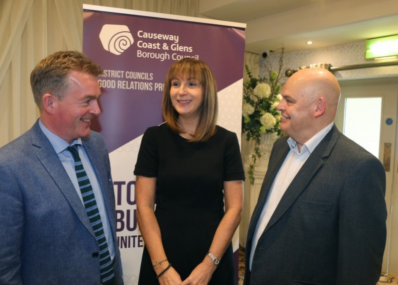 Pictured at the 'Let's Talk' event are Mark Carruthers, BBC, Patricia Harkin, Good Relations Manager, Causeway Coast and Glens Borough Council and Peter Osbourne, Rubicon.