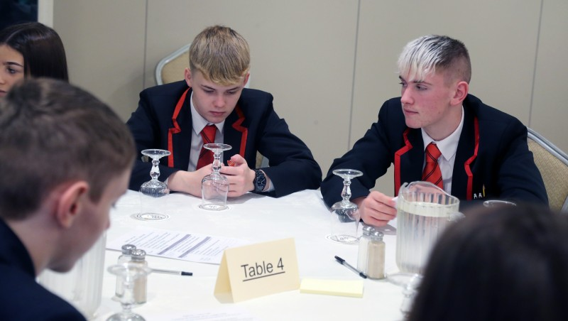 Pupils from local secondary schools who took part in the 'Let's Talk' event at The Lodge Hotel in Coleraine.