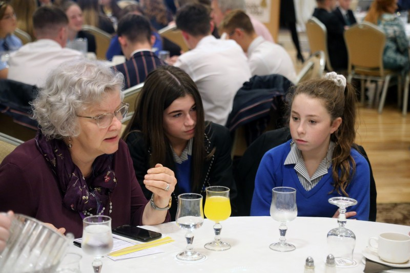 Councillor Yvonne Boyle pictured at the 'Let's Talk' event with pupils from local secondary schools.
