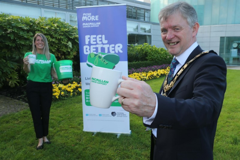 The Mayor of Causeway Coast and Glens Borough Council Alderman Mark Fielding and Move More Co-Ordinator Catherine King pictured at the launch of the World's Biggest Coffee Morning fundraising initiative. Within Causeway Coast and Glens, donations amounted to over £2000, bringing the total across Northern Ireland's Move More schemes to £10,000.​