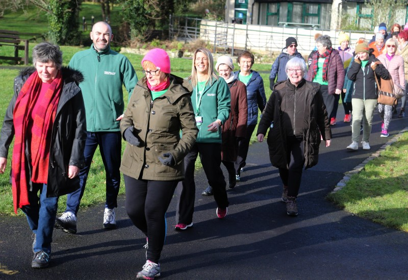 Participants enjoy the fundraising walk at Roe Valley Country Park in aid of Macmillan Cancer Support.
