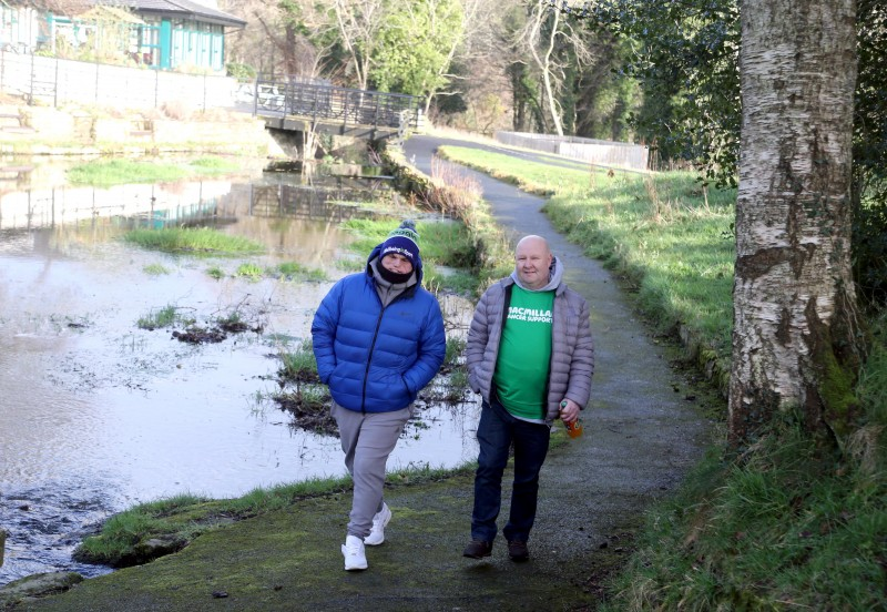 Paul Moore and Paul McLaughlin enjoy the fundraising walk at Roe Valley Country Park in aid of Macmillan Cancer Support.