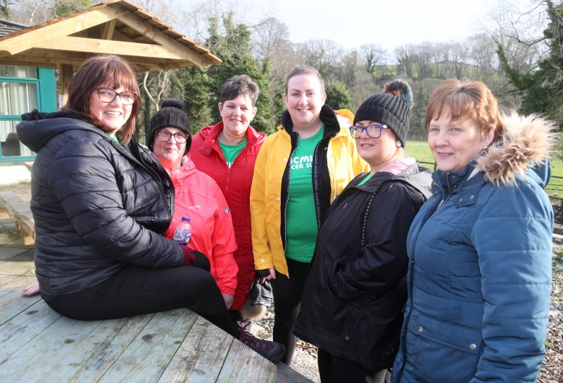 Rosemary Morgan, Lynn McGrotty, Donna Logue, Madonna Mullan Yvonne McCorriston and Geraldine McWilliams pictured at the walk for Move More participants held on World Cancer Day in Roe Valley Country Park.