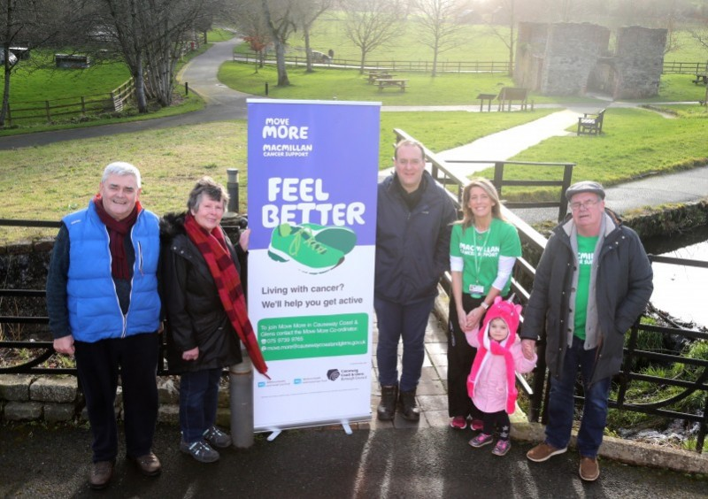 Charlie Green, Margaret Ridley, David Gibbs, Causeway Coast and Glens Borough Council's Move More Co-Ordinator Catherine Bell Allen, Ruby Finnegan and Gus Finnegan pictured at the walk for Move More participants held on World Cancer Day in Roe Valley Country Park.