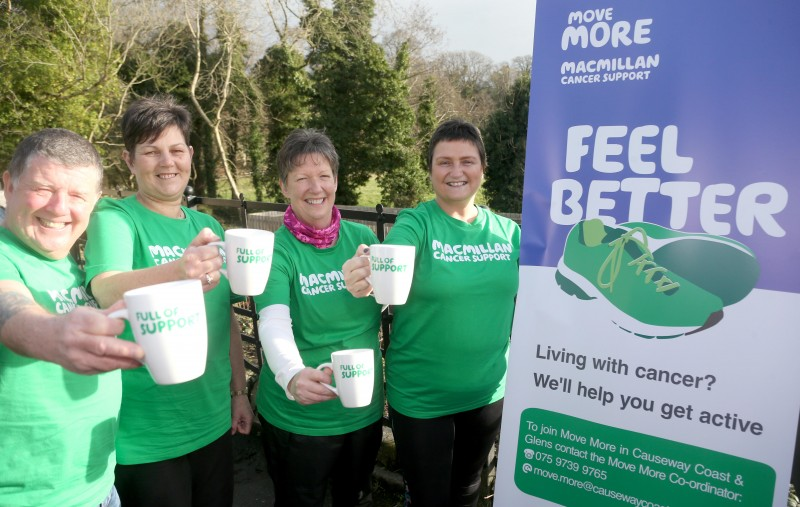 Brian Clarke, Donna Logue, Carolyn Rutherford and Jeanette McCloskey show their support for Macmillan Cancer Support ahead of the fundraising walk on World Cancer Day at Roe Valley Country Park.