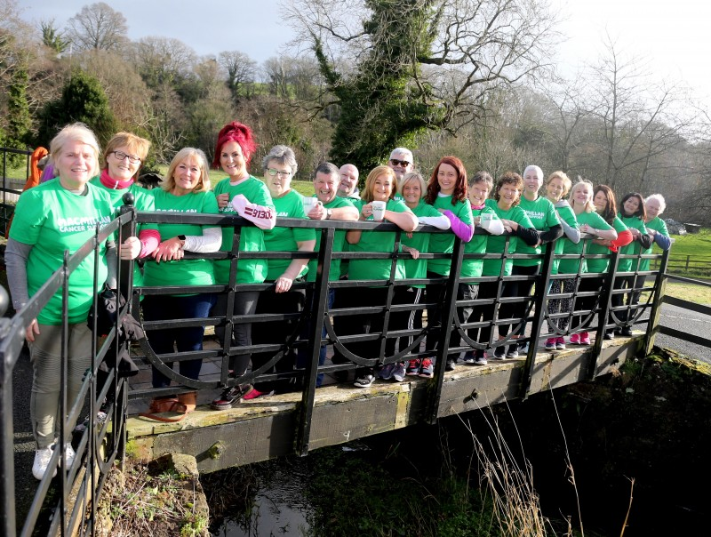 Participants show their support for Macmillan Cancer Support ahead of the fundraising walk on World Cancer Day.
