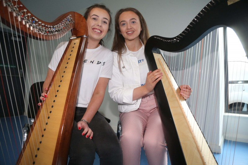 Dervla and Laura Bradley from the Hampsey Harp School in Garvagh pictured at the opening of Magilligan Community Centre