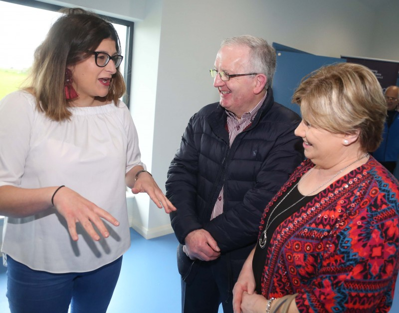 Magilligan Committee Association member Kerry Connolly pictured with some guests at the official opening of Magilligan Community Centre.