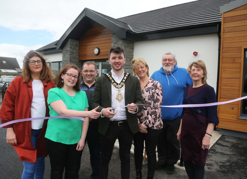 The Mayor of Causeway Coast and Glens Borough Council Councillor Sean Bateson pictured with members of Magilligan Community Association at the official opening of the new community centre.
