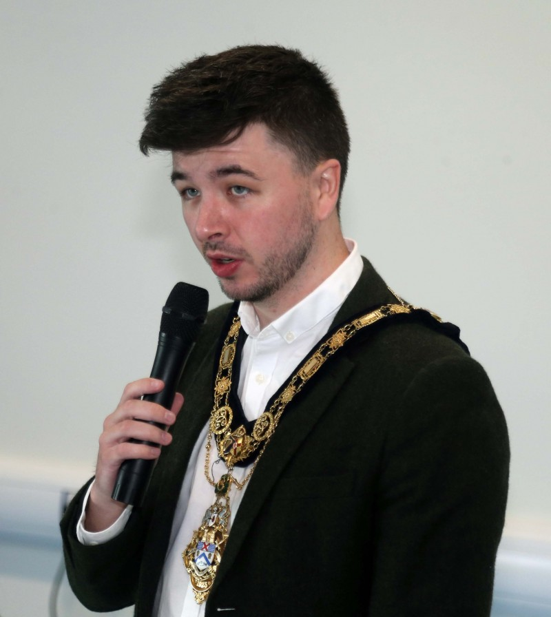 The Mayor of Causeway Coast and Glens Borough Council Councillor Sean Bateson pictured at the official opening of the new community centre in Magilligan.