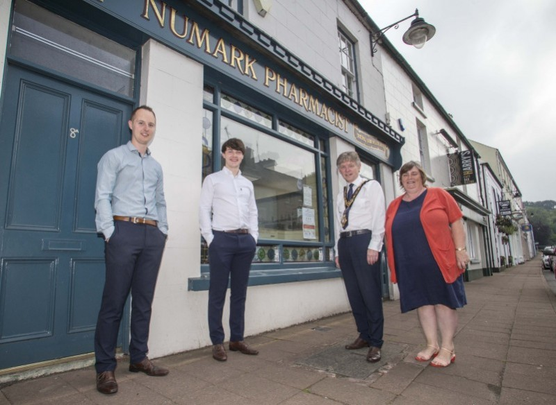 The Mayor of Causeway Coast and Glens Borough Council Alderman Mark Fielding and Mayoress Phyllis Fielding pictured with local pharmacy staff during their recent visit to Cushendall.
