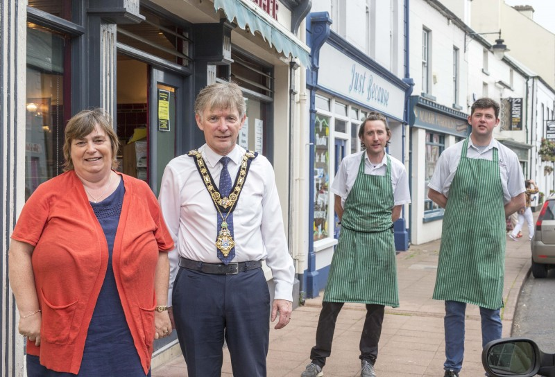 Stephen and Michael Kearney from Kearney's Butchers in Cushendall pictured with the Mayor of Causeway Coast and Glens Borough Council Alderman Mark Fielding and Mayoress Phyllis Fielding.