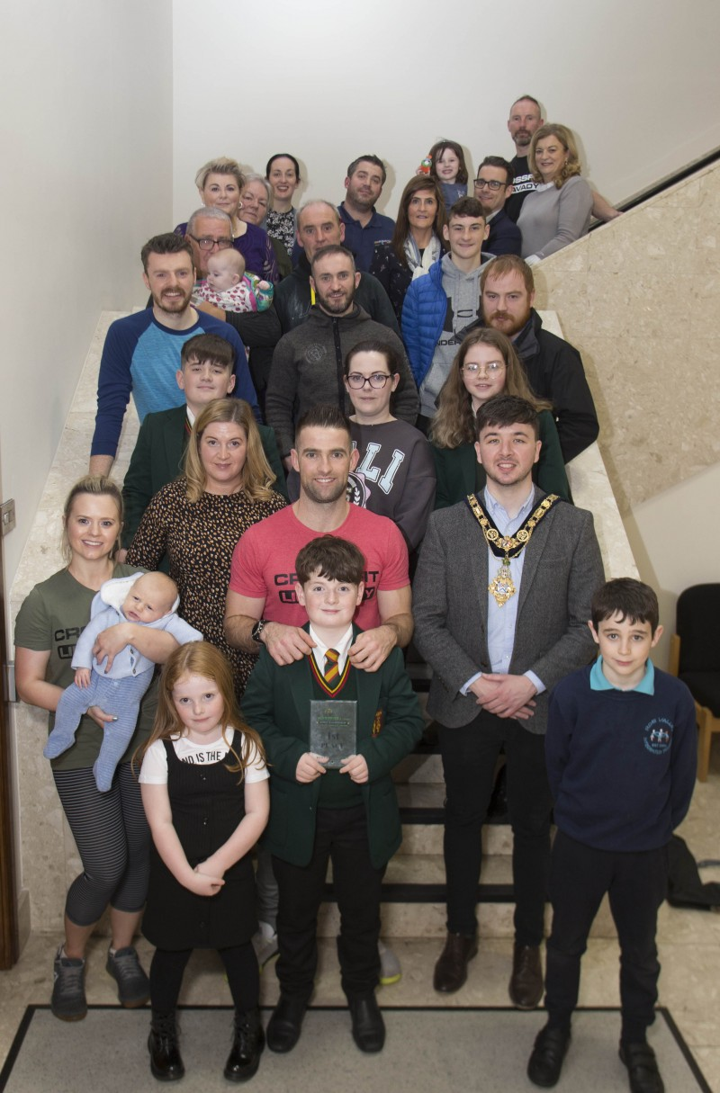 The Mayor of Causeway Coast and Glens Borough Council Councillor Sean Bateson pictured with Michael Walsh and his family, friends and supporters at a special event to mark his success at the International Functional Fitness Federation- IF3 World Championships in Australia.