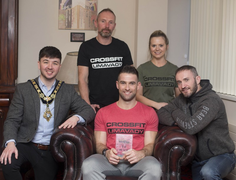 The Mayor of Causeway Coast and Glens Borough Council Councillor Sean Bateson recently hosted a reception for Michael Walsh who took 1st place at the International Functional Fitness Federation- IF3 World Championships in Australia, within the 35-39 age group category. Michael is pictured along with his business partner Andy Chapman and trainers Carla Harkin and Gaffer Moore from CrossFit Limavady.