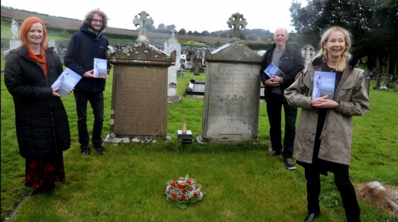 Rosemary Henderson, who wrote the book, pictured with family members Dermot Henderson (Rosemary's son), brother Neil McLaughlin and sister Patricia McLaughlin