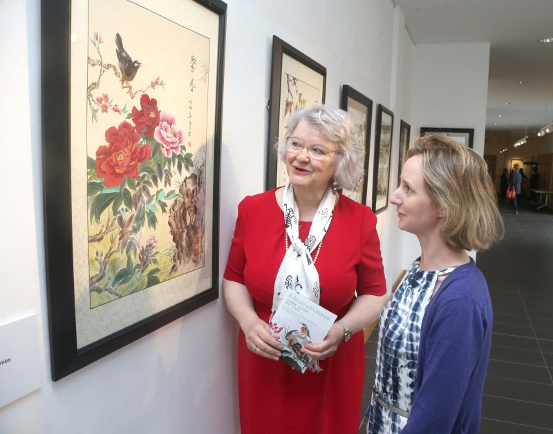 Alderman Yvonne Boyle, Causeway Coast and Glens Borough Council pictured with Triona Hamilton, NIMC Development Officer at the new exhibition of watercolours by artist Rong-Gen Yin at Roe Valley Arts and Cultural Centre in Limavady.