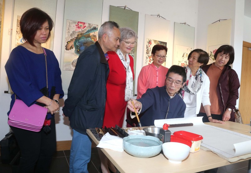 Pictured are some of those who attended the new exhibition of watercolours by artist Rong-Gen Yin at Roe Valley Arts and Cultural Centre in Limavady.