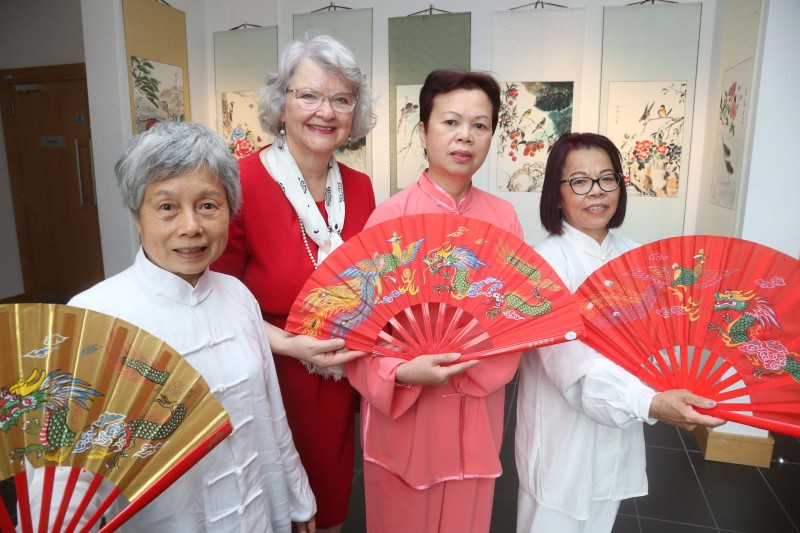 Alderman Yvonne Boyle pictured with some Chinese representatives at the launch of 'A Brush with Nature' exhibition at the Roe Valley Arts and Cultural Centre in Limavady.