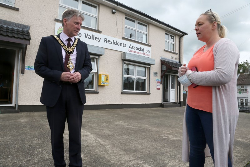 The Mayor of Causeway Coast and Glens Borough Council Alderman Mark Fielding speaks with Karen Campbell during his recent visit to Roe Valley Residents Association to learn more about the local response to the pandemic