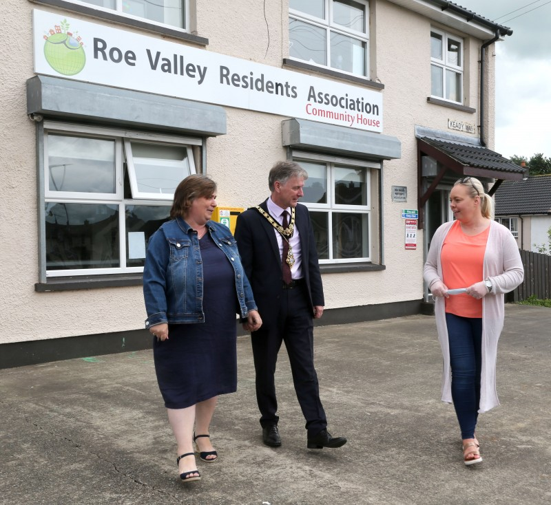 The Mayor of Causeway Coast and Glens Borough Council Alderman Mark Fielding and Mayoress Phyllis Fielding pictured with Karen Campbell during their recent visit to Roe Valley Residents Association in Limavady to learn more about the local response to the pandemic.