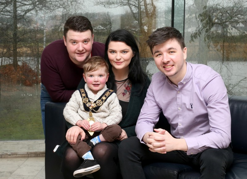The Mayor of Causeway Coast and Glens Borough Council Councillor Sean Bateson pictured with Dáithí MacGabhann and his parents Máirtin and Seph. Dáithí is currently waiting on a heart transplant and his family's Donate4Dáithí campaign aims to raise awareness about organ donation and encourage more people to register as organ donors.