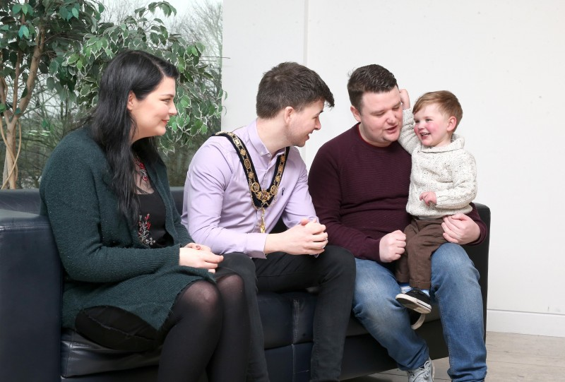 Three-year-old Dáithí MacGabhann meets the Mayor of Causeway Coast and Glens Borough Council Councillor Sean Bateson along with his mum Seph and dad Máirtin at an event in Cloonavin to raise awareness about organ donation.