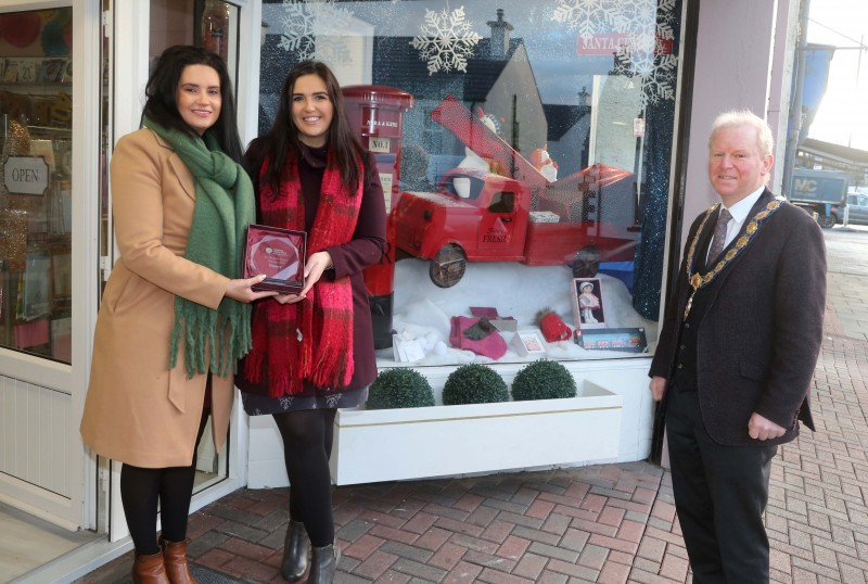 Nora and Katie was the winner of the Best Christmas Window in Dungiven. Deputy Mayor of Causeway Coast and Glens Borough Council Alderman Tom McKeown presented the prize to Rose Kearney and Sheila McCartney.